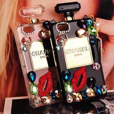 Coque CHANEL lèvre diamant bling bouteille parfum pour iPhone 4 5 5s sur www.lelinker.fr