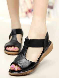 Large size flat sandals 4043 summer simple genuine leather open-toed white nurse shoes women shoes slip 41damen sandaletten