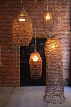 Amulettethe amazing work of Annie Legault is part of Lighting - Annie Legault creates innovative and original design and everyday objects, such as lamps, carpets and throws, combining traditional techniques with contemporary context Home Lighting, Lighting Design, Pendant Lighting, Unique Lighting, Lamp Shades, Light Shades, Light Fittings, Light Fixtures, Crochet Lamp