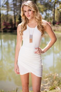 Summertime Fine Off White Ribbed Bodycon Dress