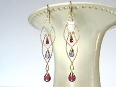 Twining Orchid Gold Fill EarringsRuby by AdornobyHolly on Etsy Wire Wrapped Earrings, Wire Earrings, Wire Jewelry, Jewelry Crafts, Beaded Jewelry, Chandelier Earrings, Jewellery, Handmade Wire, Handmade Jewelry