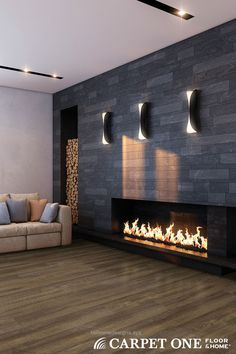 Cozy modern fireplace and cozy modern VINYL floors. Luxury vinyl tile is a great choice for rooms that have moisture or spaces that need durable flooring. Invincible Luxury Vinyl Tile available at Carpet One. I already have a fireplace like this. Fireplace Wall, Fireplace Surrounds, Fireplace Design, Stone Fireplaces, Fireplace Ideas, Modern Fireplaces, Kitchen Fireplaces, Corner Fireplaces, Fireplace Mantels