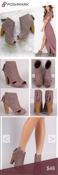 "⭐️SIZE 5.5 ONLY⭐️NIB Taupe Cut Out Ankle Booties NIB Taupe Cut-Out Ankle Booties. These versatile booties feature a perforated vegan suede with side cut-outs, peep toe, and a chunky stacked heel. Tassel pull on a gold back-zip closure at the heel. Lightly padded insole, approx 4"" heel. FITS TRUE TO SIZE. Available in 5.5 No Trades and No PaypalPrice is firm unless bundled, also available in black, see my closet for black listing. Sold out of 6, 7, 7.5, 8.5, 9, 10 Shoes Ankle Boots & Booties"