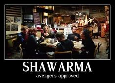 """Have you ever tried shawarma?"" Iron Man asks Captain America. ""There's a shawarma joint about two blocks from here. I don't know what it is, but I want to try it."""