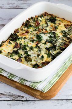 Sausage, Kale, and Mozzarella Egg Bake found on KalynsKitchen.com