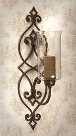 Dessau Home - Bronze Iron Scroll Wall Sconce with Hammered Globe - Candle Holders - Wall Decor Rustic Wall Sconces, Bathroom Wall Sconces, Candle Wall Sconces, Outdoor Wall Sconce, Sconces Living Room, Iron Wall Decor, Iron Furniture, Tuscan Decorating, Candlesticks