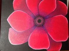 """This is a 18x24"""" Red Poppy. I painted the background with acrylic paint and then added the shadow and highlights with gel pen dots."""