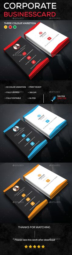 Corporate Business Card Template PSD. Download here: https://graphicriver.net/item/corporate-business-card/17532985?ref=ksioks