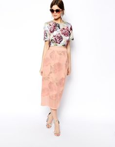 ASOS SALON Midi Skirt In Floral Organza