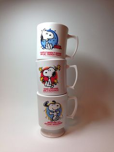 Vintage Snoopy cups, set of three Snoopy mugs on Etsy, $15.00