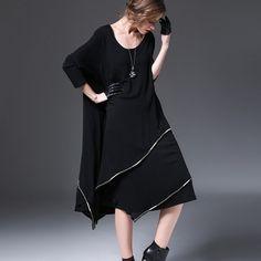Asymmetrical cotton dress black dress loose tunic dress maxi dress oversize black dress long sleeve autumn dress black kaftan