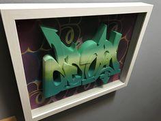 3d printed sculpture in shadow box  #wallnutscrew #wgf #tacrew #deepinsidethemind #urbanbranding #3dprinting #3dprintedgrafounder #3dprintedgraffiti   3d printed graffiti  #3Dart #absfilament #wetonwet 3dprintedgraffiti   #grafpioneer #blickrylics #molotowpaint #molotow #hobbyist #figurines #sculpture #urbansculptures