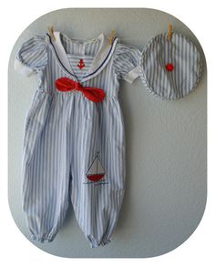 Vintage Baby Girl Clothes  Sailor Jumper with by NellsNiche, $18.00