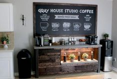 Coffee Bar Ideas - Looking for some coffee bar ideas? Here you'll find home coffee bar, DIY coffee bar, and kitchen coffee station. Coffee Bars In Kitchen, Coffee Bar Home, Bar Kitchen, Basement Kitchen, Kitchen Ideas, Coffee Room, Coffee Counter, Bufette Ideas, Bar Ideas