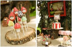 OMG Red Riding Hood, the wolf and mushroom cake pops!! AMAZING!!!