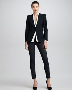 Armani Collezioni Detachable-Collar Jacket & Double-Faced Jersey Leggings