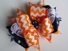 Orange and Navy Denver Broncos Boutique bow by ransomletterhandmade, $10.00
