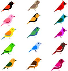 Simple Birds by @barbie40, 15 colorful birds in five rows of three columns, all facing right, each differently colored, simple, charming, on @openclipart