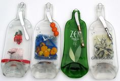 Recycled glass bottles turned into cheese cutting boards.