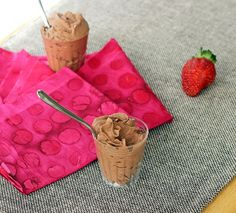 Chocolate Mousse: 1 can full-fat coconut milk   1/4 cup plus 1 tbsp cocoa powder   1/2 tsp pure vanilla extract  sweetener to taste ...also strawberry with coconut milk, 2-5 berries, 1/4 tsp vanilla, pinch salt, sweetener
