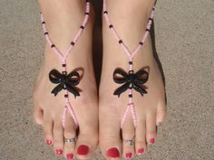 Pink and Black Bow Barefoot Sandals, Slave Anklet, foot jewelry, ankle bracelet with toe ring via Etsy