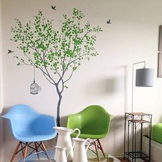 Spring Tree with Bridcage (Grey and Lime Tree Green) - Beautiful Tree Wall Decals for Kids Rooms Teen Girls Boys Wallpaper Murals Sticker Wall Stickers Nursery Decor Nursery Decals ** Awesome product. Click the image (This is an amazon affiliate link. I may earn commission from it)