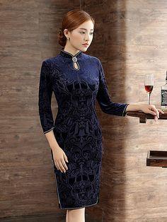 Midi Qipao / Cheongsam Dress in Blue Floral Velour
