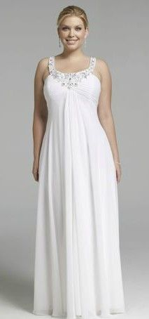 Simple wedding dresses like this work well on plus size women. The vertical draping lengthens her silhouette and the fabric drapes nicely over her curves.  Repin now! http://www.fashiondivaly.com/w4w