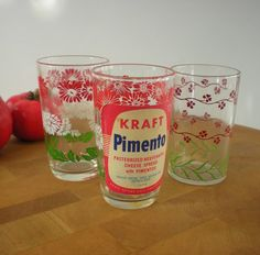 Kraft Swanky Swig Glasses - Original Pimento Label - Green Red White ...