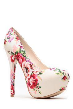 Beige Floral Print Platform Pumps @ Cicihot Heel Shoes online store sales:Stiletto Heel Shoes,High Heel Pumps,Womens High Heel Shoes,Prom Shoes,Summer Shoes,Spring Shoes,Spool Heel,Womens Dress Shoes