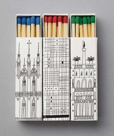 Illustrated Architectural Landmark Matchboxes #architecture trendhunter.com
