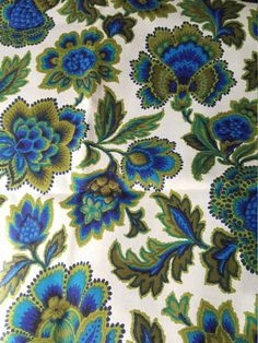 Vintage mid-century blue and green Jacobean by CircularVintage