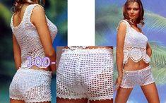 Plage costume: short et top.  régime de tricotage