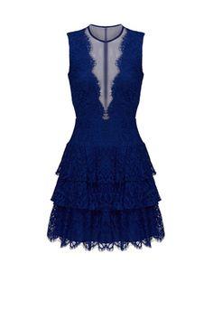 Cobalt Lace Illusion Dress by Nicole Miller