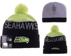 Mens   Womens Seattle Seahawks New Era 2016 NFL Fashion Graphite Green  Upright Sport Knit Beanie Hat With Pom Pom 0d6bc4834b97