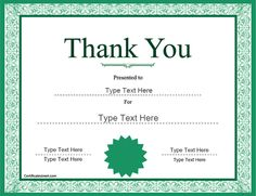 Marvelous Special Certificates   Thank You Award Template