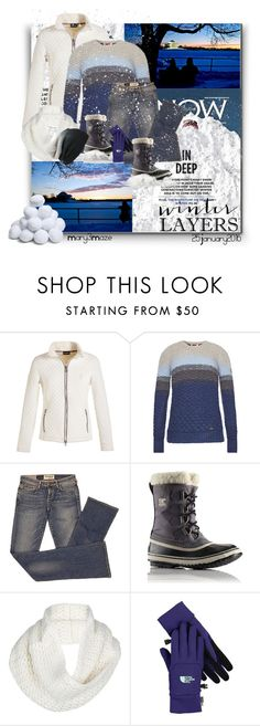 """""""Snow Blizzard Jonas 2016"""" by octobermaze ❤ liked on Polyvore featuring Golfino, Barbour, Elizabeth and James, SOREL, UGG Australia, The North Face, BP., women's clothing, women and female"""