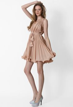 #Chicwish Peach Pleated Dress with Belt - Dress - Retro, Indie and Unique Fashion