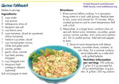 """Add variety with quinoa, """"the mother grain."""" This quinoa tabbouleh recipe is perfect with pita chips, lettuce leaves, or as a side to kebabs. Tabbouleh Recipe, Quinoa Tabbouleh, My Recipes, Recipies, Kansas State University, Lettuce Leaves, Kebabs, How To Cook Quinoa, Chips"""