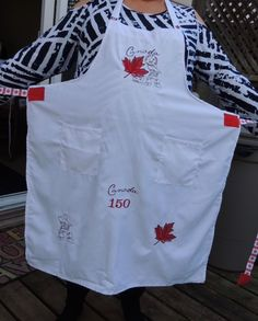 Canada 150 themed apron - embroidery designs from Urban threads