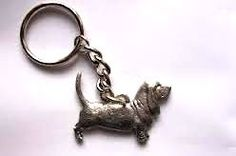 Basset Hound keyring made from finest pewter. Authentication stamp of U.S manufacturer on reverse. Available in UK - price includes VAT & UK postage.