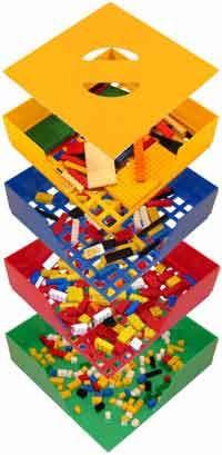 A self sorting Lego storage system which sorts blocks by size. ingénieux !