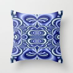 Blue Dreams Throw Pillow - $20.00.  Available in 3 sizes, indoor or outdoor options, with or without the insert.  #pillow #cushion ##blue #fractal #pattern #abstract