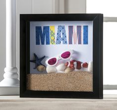 Create a shadowbox to commemorate some of your favorite items from vacation!