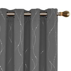 Deconovo Blackout Curtains Grommet Top Energy Saving Curtain Wave Line with Dots Foil Printed Wide Room Darkening Curtains for Bedroom and Living Room x Inch Grey 1 Panel Patio Door Curtains, Kids Curtains, Cool Curtains, Grommet Curtains, Curtains With Blinds, Window Curtains, Curtain Panels, Panel Blinds, Curtain Room