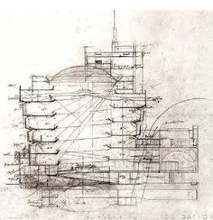 Section drawing. Solomon R. Guggenheim Museum, NYC. 1959. Frank Lloyd Wright