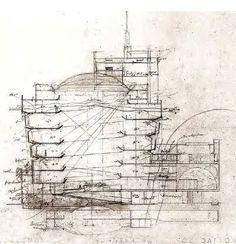 Section drawing. Solomon R. Guggenheim Museum, NYC. 1959. Frank Lloyd Wright