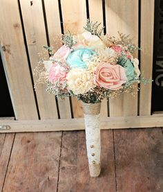 Romantic Wedding Bouquet Mini Pink and Mint by CuriousFloral