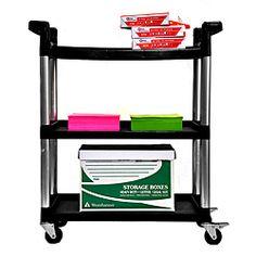 Office Rolling Cart Kitchen Home Utility Trolley Wheels Service Storage… Office Storage, Storage Boxes, Storage Shelves, Home Organization, Locker Storage, Kitchen Office, Kitchen Cart, Garage Office, Outdoor Storage Units