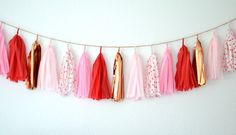 Je T'aime Tissue Paper Tassel Garland // Hearts, Red, Pink, Cooper, Rosegold on Etsy, $30.00